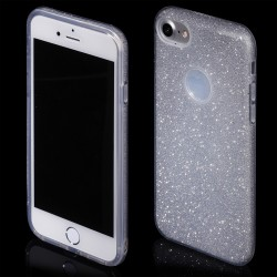 Cover morbida per  iPhone 5s - SE  serie GLITTER STILEITALIANO con brillantini Argento