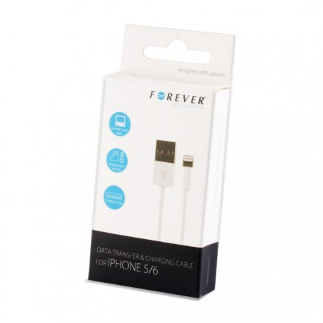 CAVO USB 8 pin IOS 8 PER APPLE IPHONE 6 5 5S 5C IN CONFEZIONE BIANCO KL