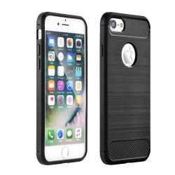 Cover per IPHONE 5 SE 5s serie PROTEC Stileitaliano TPU effetto alluminio - carbonio NERA