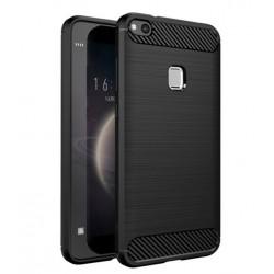 Cover per Huawei Y7 2018 - Y7 PRIME 2018 serie PROTEC Stileitaliano TPU effetto alluminio - carbonio NERA