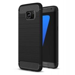 Cover per Samsung A6 PLUS 2018 A605 serie PROTEC Stileitaliano TPU effetto alluminio - carbonio NERA