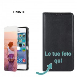 Base5 Samsung S6 G920 Solo Fronte Cover flip sportellino personalizzata Nera -