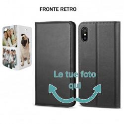 Base5 Samsung J4 2018 J400 Solo Fronte Cover flip sportellino personalizzata Nera -