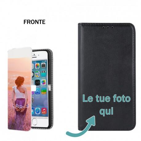 Base5 iPhone XS Max Solo Fronte Cover flip sportellino personalizzata Nera -