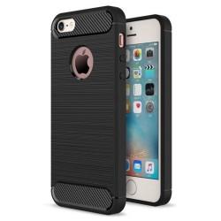 Cover per IPHONE 5 SE 5s serie PROTEC Stileitaliano® TPU effetto alluminio - carbonio NERA