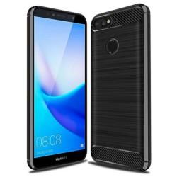 Cover per Huawei Y6 PRIME 2018 - HONOR 7A - 7A PRO  serie PROTEC Stileitaliano® TPU effetto alluminio - carbonio NERA