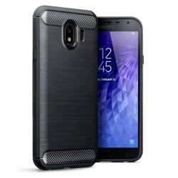Cover per Samsung J4 2018 J400 serie PROTEC Stileitaliano® TPU effetto alluminio - carbonio NERA