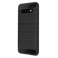 Cover per Samsung  A20E A202 serie PROTEC Stileitaliano® TPU effetto alluminio - carbonio NERA