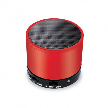 Mini Cassa Rotonda Bluetooth universale con  speaker da 3W Rossa