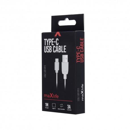 Cavo USB TYPE-C FAST CHARGE 3A Universale 1 metro RICARICA RAPIDA  Maxlife Bianco