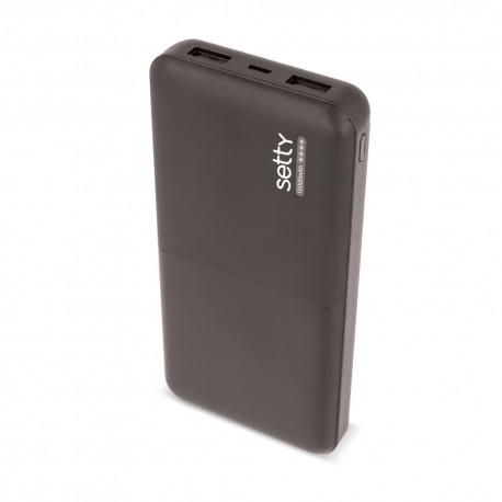 Power Bank 10000 mah DOPPIA USCITA USB 2.1A  led ricarica batteria esterna Setty Nero