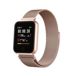 Smartwatch fitness band orologio Bluetooth SW-300 Android IOS monitoraggio cuore battito cassa alluminio Oro Rosa