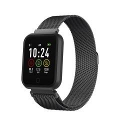 Smartwatch fitness band orologio Bluetooth SW-300 Android IOS monitoraggio cuore battito cassa alluminio Nero