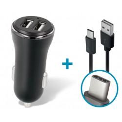 Caricabatterie da auto doppia uscita usb + Cavo TYPE-C Fast Charge Ricarica rapida 2.4 A  CC-03 Nero