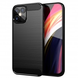 Cover per Apple IPHONE 12 Mini 5,4 serie PROTEC Stileitaliano® TPU effetto alluminio - carbonio NERA