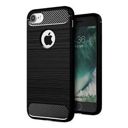 Cover per IPHONE SE 2020  serie PROTEC Stileitaliano® TPU effetto alluminio - carbonio NERA