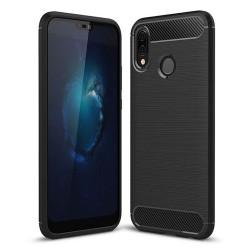 Cover per Xiaomi Mi Note 10 Lite serie PROTEC Stileitaliano® TPU effetto alluminio - carbonio NERA