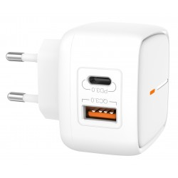 Presa Spina Caricabatterie uscita USB e Type-C PD Quick Charge 18W QC 3.0 Ricarica Rapida Universale L60