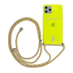 Cover per IPHONE X - XS serie Strap Stileitaliano® morbida trasparente Lime
