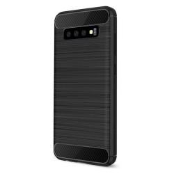 Cover per Samsung A02s serie PROTEC Stileitaliano® TPU effetto alluminio - carbonio NERA