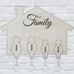 Appendichiavi da muro personalizzato con 4 portachiavi ad incastro da parete in legno porta chiavi