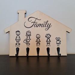 Appendichiavi da muro personalizzato portachiavi da parete in legno porta chiavi ingresso Family
