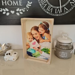 Foto cassetta in legno quadro stampa fotografica personalizzata 25cm x 16cm Verticale