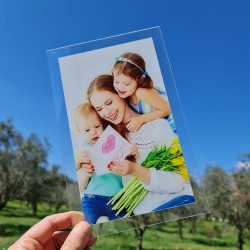 Foto quadro su plexiglass stampa fotografica personalizzata targa vetro acrilico 25cm x 16cm verticale