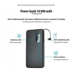 Power Bank 10000 mah con cavo per iphone Lightning 3 uscite USB 3A display led Ricarica Rapida batteria esterna forever core