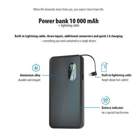Power Bank 10000 mah con cavo per iphone Lightning 3 uscite USB display led Ricarica Rapida batteria esterna forever core
