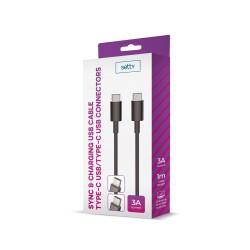 Cavo USB TYPE-C -da USB-C - Cavo USB-C - 1 metro 3A in confezione setty Nero